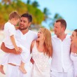 Big family, group of friend having fun on tropical beach, summer vacation — Stock Photo #78983078