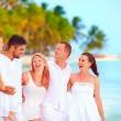 Group of friend having fun on tropical beach, summer vacation — Stock Photo #78983218