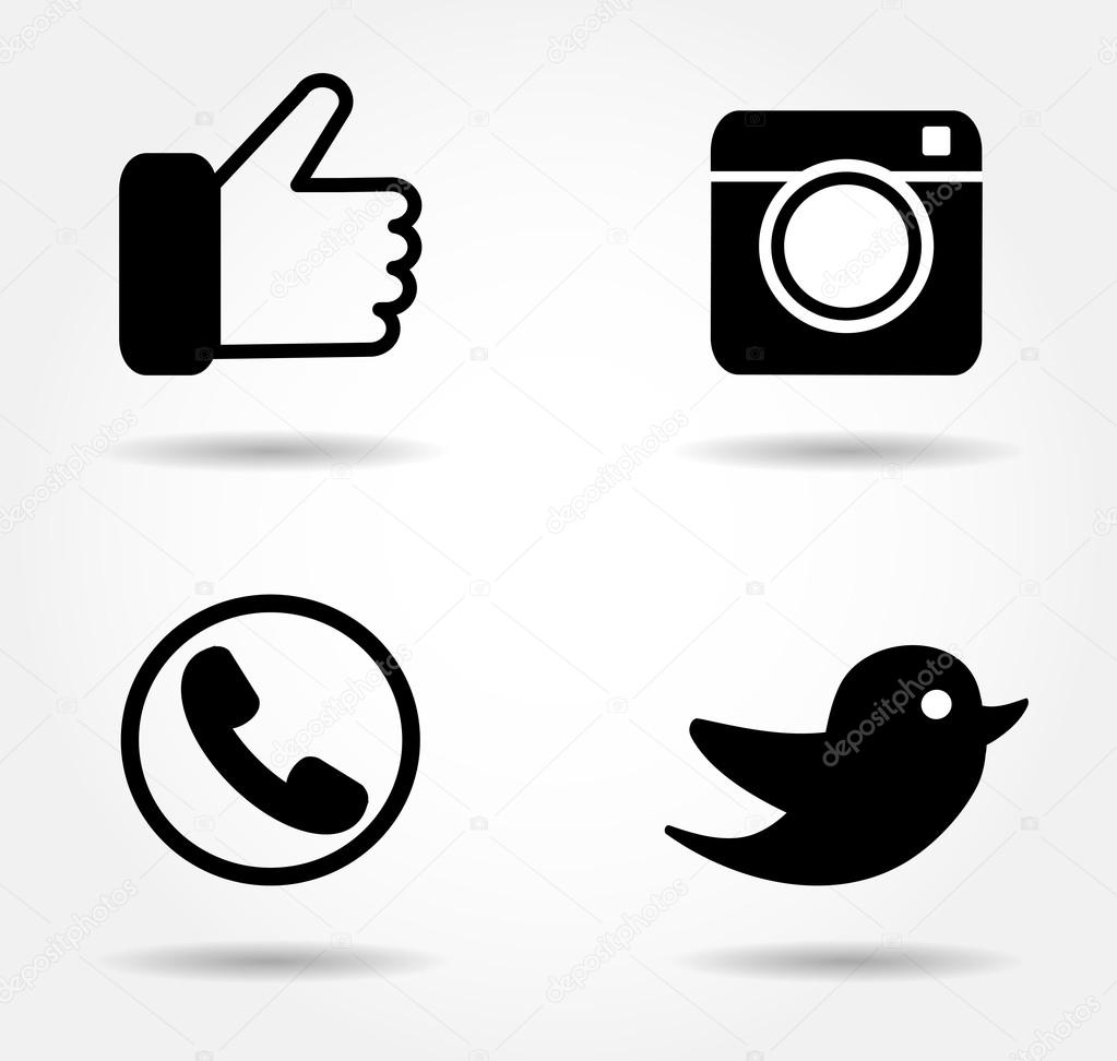 Black icon set.Social ...