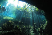 Cenote underwater cave — Stock Photo