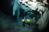 Cave diving in the cenote underwater cave — Stock Photo