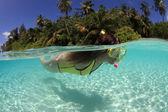 Female snorkeler — Stock Photo