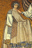 Mosaic of Saint Vitalis preparing to receive a martyrs crown — Stock Photo
