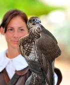Lady and the hawk — Stock Photo