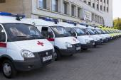 Ambulances near the building Government of Vologda region, Russia — Stockfoto