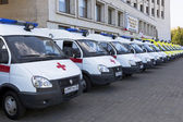 Ambulances near the building Government of Vologda region, Russia — Stock Photo