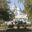 Park near the temple Orthodox Prince St. Alexander Nevsky in Vologda, Russia — Stock Photo #57740673