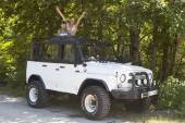 Jeeping. Yay! Now go ride — Foto de Stock