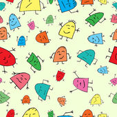 Vector seamless background, merry children — Stock Vector