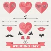 Set of wedding invitation — Vetor de Stock