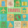 Vintage Colorful retro set of travel — Stock Vector #70644323