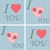 Set LOVE Happy Valentines day card, Font Type — Cтоковый вектор