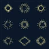 Set of vintage drawn sunbursts — Stock Vector