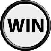 Button win — Stock Vector