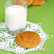 Glass of milk and oat cookies. — Stock Photo #63834485