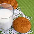 Glass of milk and oat cookies. — Stock Photo #63834497