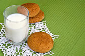 Glass of milk and oat cookies. — Stock Photo