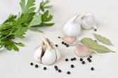 Garlic vegetables with parsley spice — Stock Photo