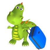 Dragon with a suitcase — Stock Photo
