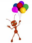 3d cartoon ant with baloons — Zdjęcie stockowe