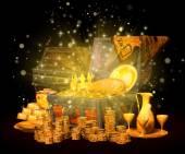 Ilustración 3d de un cofre del tesoro — Foto de Stock