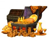 3d illustration of a Treasure Chest — Stock Photo