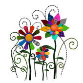 Fantasy patchwork flowers illustration — Stock Photo