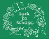 """Back to school""  frame from leaves and school supplies — Vector de stock"