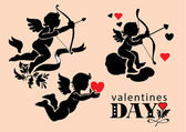 Set of images of Cupids Valentine's Day — Vector de stock