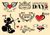 Set of design elements of Valentine's Day — Stock Vector
