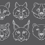 Wild animals head predators — Stock Vector #64937565