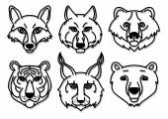 Wild animals head predators — Stock Vector