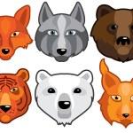 Wild animals head predators — Stock Vector #65782875