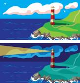Lighthouse on the rocks day and night — Stock Vector