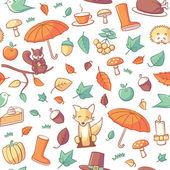 Seamless mönster med höstens relaterade objekt — Stockvektor