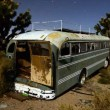 Abandon Bus in the Desert at Night — Stock Video #65177179