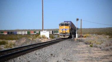 Freight Train in the Desert — Stockvideo