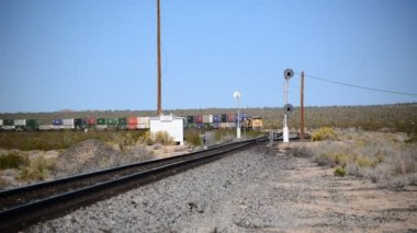 Freight Train in the Desert — Stockvideo