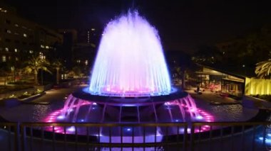 Los Angeles City Hall and Fountain Nighttime — Vídeo de Stock