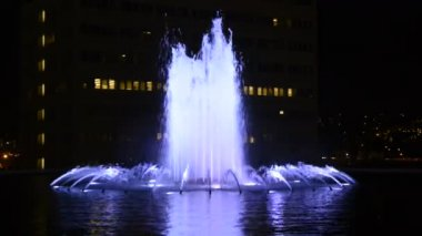 City Hall and Fountain Nighttime — Stock Video