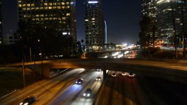 Night Traffic in Downtown Los Angeles — Stock Video