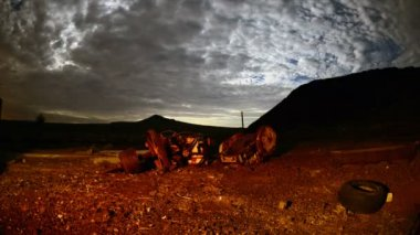 Time Lapse of Abandon Mine at Night — Stock Video