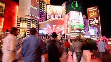 Lasso di tempo della strip di las vegas di notte — Video Stock