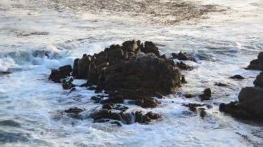 Pacific Ocean Waves Crashing on Rocks — Stock Video