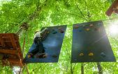 Kid in   treetop adventure park — Stock Photo