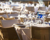 Table set at wedding reception — Stock Photo
