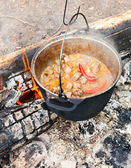 Cooking Goulash on open fire — Stock Photo