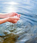 Water in hands — Стоковое фото