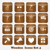 Wooden Application Icons Set Vector Illustration — Stock Vector
