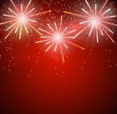 Glossy Fireworks Background Vector Illustration. EPS10 — Stock Vector